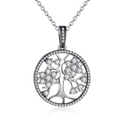 Wholesale Sterling Tree - The 2018 Christmas DEALS Classic 925 Sterling Silver Tree of Life Round Pendant Necklaces for Women Fine Jewelry PSN013