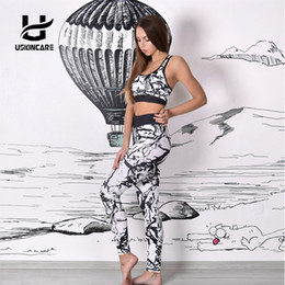 Wholesale Gym Clothes Women Set - USKINCARE Floral Printed Women Yoga Set Splice Running Set Bra+Leggings Sports Suit Vintage Sports Clothing Gym Tracksuit