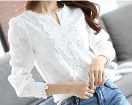 Новая осень-весна повседневная основные женщины кружева шифон блузка рубашки твердые топы Белый blusas с длинным рукавом пр вышивка большой размер cheap xl white lace blouse от Поставщики xl белая кружевная блузка