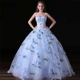 Wholesale Modern Wedding Dress Patterns - Real Photo 2018 Colorful Camo Wedding Dresses Blue Flower Pattern Beaded Sweetheart Ball Gown Plus Size Bridal Gowns CorsetSB059