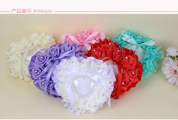 Wholesale Pink Roses Pillow Cases - 2018 Biege Romantic Rose Flowers Ring Heart Shape Cheap Wedding Jewelry Case Ring Bearer Pillow Cushion Holder Red Ring Pillow