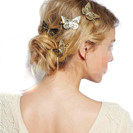 Wholesale Headband Beauty - Hair Clippers Women Shiny Gold Butterfly Hairs Clip Headband Hair Hairpin Headpiece Beauty Lady Hair Accessories Headpiece Hairband Jewelry