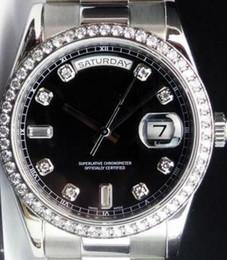платиновые часы мужские Скидка Роскошный Platinum Day-Date President Black Diamond циферблат / безель 118206 механизм с автоподзаводом мужские часы из нержавеющей Мужские спортивные наручные часы