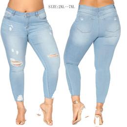 Wholesale Vintage Hot Pants - Fat Women Denim Jeans Wash Broken Trousers Hot Sexy Slim Jeans For Woman Eur US Size Women Pants