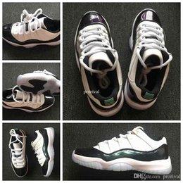 Wholesale nylon balls - 2018 New 11 Low Emerald Green Black White Basketball Shoes For Men 11s Barons Sports Sneakers High Quality Basket Ball Shoe Size 7-13