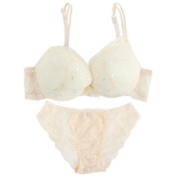 Wholesale Women Ladies Bra Panties - ROPALIA Women Sexy Underwear Lady Satin Lace Embroidery Bra Sets With Cute Panties Solid Color Cup B