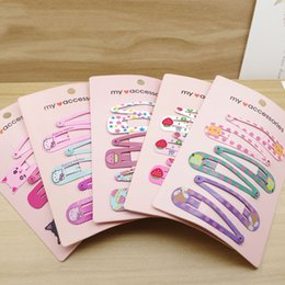 Wholesale Korea Kids Hair Accessories - 6 pieces 2017 korea Cute Kawaii Iron printing hair clip hair accessories headdress for girl kids young women Flower bow Hairpin