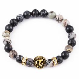 Wholesale Crystal Good Luck - Antique Gold Plate Buddha Lion Head Crystal Bracelet Men Women Stone Charm Beads Bead Good Luck Bracelets Free DHL D383S