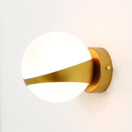 Wholesale Modern Stairs Lights - Design Glass Wall Lamp Sconce Modern Bedroom Kitchen Stair Living Room Wall Lights Decor Home Lighting Gold Iron E14 110-220V