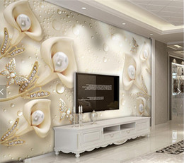 Wholesale Chinese Kitchen Decor - 3D Embossed Flower Jewelry Pearls Photo Wallpaper Mural Living Room Sofa TV Background Wall Decor papier peint 3d Custom Size