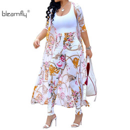 boho outfits Promo Codes - Summer 2 Piece Set Women Cardigan Long Trench Tops And Bodycon Pant Suit Casual Clothes Boho Sexy Two Piece Outfits 2018