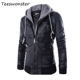 Wholesale Leather Coat Hood Men - Wholesale- 2017 New Mens Hooded Leather Jackets And Coats PU Leather Casual Black M-XXL Mens Motorcycle Leather Jacket With Hood