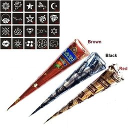 Wholesale Eye Stencil Kit - 3 Pcs Henna Cones Red Brown Black + 20pcs Stencils Temporary Tattoo Kits Body Art Mehandi Ink For Body Paint 2017 @ME88