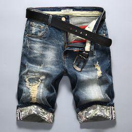 Wholesale Mens Skinny Denim Shorts - Wholesale-New Fashion Mens Ripped Short Jeans Brand Clothing Bermuda Hot Summer 98% Cotton Capris Breathable Breeches Denim Shorts Male