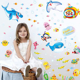 Wholesale Underwater Wall Murals - Underwater Wall Stickers Sea Fish bathroom kids PVC stickersv home decor 3d stickers living room Wall Decals poster mural