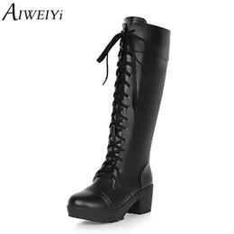 Laços de sapato redondos pretos longos on-line-AIWEIYi Lace Up Martin Botas para As Mulheres dedo do pé Redondo Salto Quadrado Sapatos de Salto Alto Botas Cosplay Outono Inverno Sapatos Longos Preto
