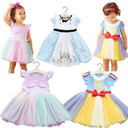 Wholesale contrasts dress designs - Summer Kids Dress Mesh Candy Color Dresses Girls Floral Bow Design O-Neck Princess Dress Girls Baby Kids Dress