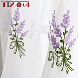 Wholesale flower tabs - Luxury Embroidered Pink Lavender Flower Tulle Blue Curtains For Living Room Red Rose embroidery Curtains Purple Sheer AG057&2