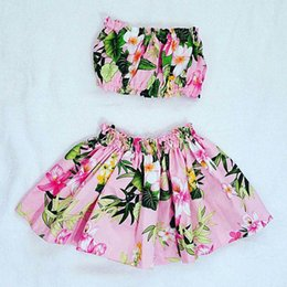 Wholesale Girls Flower Skirt Top - Girls floral beach clothing 2pc sets boob tube top+flower skirt 1-3T baby toddlers cute beach clothes