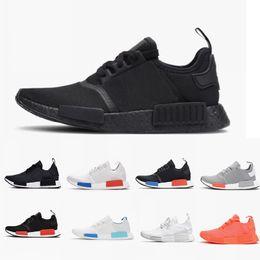 37fadd49de2 (double box) 2018 mens Shoes R1 Again Monochrome Primeknit PK For Men Women  Triple Black White Red Janpan Runner nmd R1 Fashion Sneakers