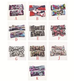 Wholesale Leopard Baby Hair Bow - 10 color Baby Bow Headband Girls Bohemian bunny Hairband leopard flower printed Baby 15*3.34 inch u pick color Hair Accessories BY-XXXX