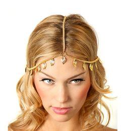 2019 metallkettenhaarstücke Neue Mode vergoldet Gold Kopf Kette Stücke Frauen Boho Kopfschmuck Stirnband Metallkette Haar Kopf Schmuck Großhandel 233 rabatt metallkettenhaarstücke