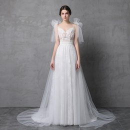 Wholesale Floor Ties - 2018 Modest A line Wedding Dresses Spaghetti Bow Tie Strap Sexy Backless Tulle Tiered Skirts Custom made Sweep Train Bridal Gowns