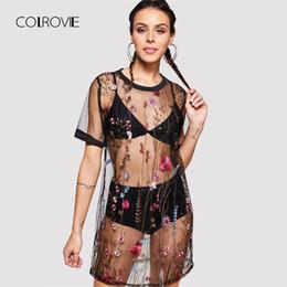 8588635842 sheer mesh bra women UK - wholesale Floral Embroidery Sheer Mesh Dress  Without Bra Set 2018