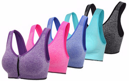 Wholesale Men S Headbands - Womens Zip Front Padded Sports Bra Racerback Yoga bras for Women with Headband Set Pack