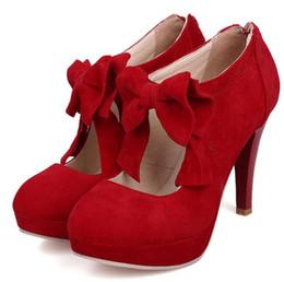 2019 arc plateforme rouge 2018 Hot Women chaussures de mariage rouge talon épais plateforme talon épais bow bout rond chaussures de velours de mode arc plateforme rouge pas cher