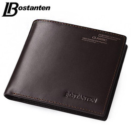 Wholesale Vintage Money Clips - Bostanten Coffee New Sale Vintage Men Vertical Style Cow Leather Men Wallet Designer Carteras Money Clip Free Shipping
