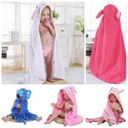 Wholesale bath robes children - baby Kids Hooded Cloak Beach Towel Cotton Bathrobe Baby Spring Animal Hooded Bath Towel Children Cartoon Towel 90*90CM EEA180