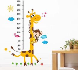 Wholesale Growth Chart Monkey - Giraffe Monkey Wall Stickers Sun Cloud Flower Child Growth Charts Wall covering Boys Girls Bedroom Decoration 60X90cm
