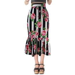 b120a50c4d Fashion Women 2018 Summer Rose Print Maxi Skirts Designer High Waist  Vertical Stripes Mermaid Tail Long Party Bodycon Skirts Plus Size