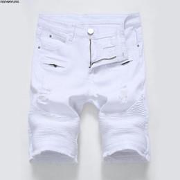 играть в футбол Скидка 2018 новые мужские повседневные джинсы молния стрейч тонкий белый черная дыра мужские брюки шорты играть в футбол
