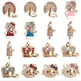 Wholesale Peacock Diamond Ring - Universal Metal Ring Stand Cell Phone Mounts Holders Peacock Diamond Phone Holder Buckle Stand Style random delivery 074