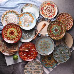 Pintando platos de cerámica online-Platos de cerámica Personalidad creativa Plato pintado a mano Plato de filete occidental Plato de pasta Vajilla para el hogar Cubiertos 30 estilos Opcional