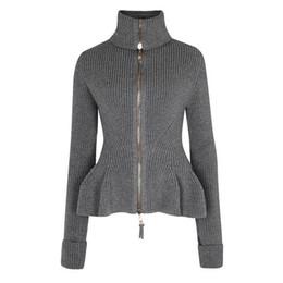 Femmes tricot gris mode automne pull mince sexy vague coupe cardigans ruchés pull col roulé décontracté plus la taille pull épais ? partir de fabricateur