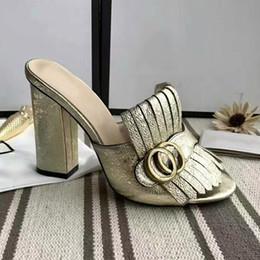 Wholesale Med Gold - Women Beach Leather Slippers Slingback Shoes High-heeled Pumps Designer Summer Women Open Toe Sandals 35-40