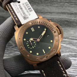 Wholesale new ultimate - New Top Quality VS factory ultimate perfect pam382 bronze warrior Green Dial Brown Leather Strap KW P9000 Automatic Men's Watches