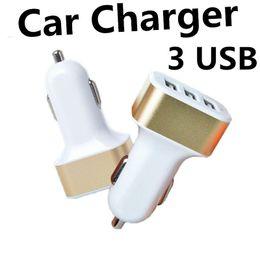 Wholesale Micro Usb Au Plug - Best Metal Car Charger 3 USB Ports Colorful Micro USB Car Plug USB Adapter ForSamsung Galaxy Motorola Droid Nokia Htc