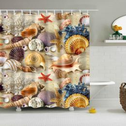 2020 decoración de estrellas de mar Nuevo diseño de nuevas ecológicos coloridas cortinas de ducha de la playa de la concha de mar Shell poliéster de alta calidad lavable Baño Decoración rebajas decoración de estrellas de mar