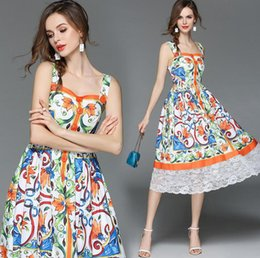 Wholesale gorgeous casual dresses - 2018 summer new women's gorgeous printed dress in the long paragraph dress skirt beach skirt