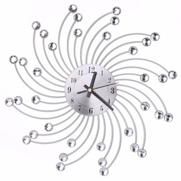 Wholesale High Quality Wall Clocks - High Quality 3D Diamonds Flower Metal Wall Clock Europe Style Silent Dazzling Wall Watch for Living Room Home Office Decor C42