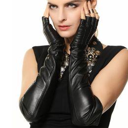 Guanti di pelle di pecora dita online-Guanti Lady Sheepskin Winter Fashion Tenere al caldo Long Style Foderato in velluto semi-dita Guanti in vera pelle Donna L140NN