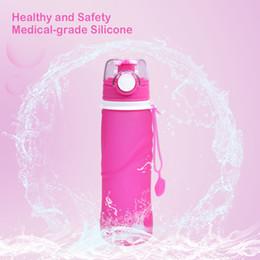 Organische flaschen online-Faltbare Wasserflasche Lebensmittelqualität Organisches Silikon Bisphenol Von der FDA zugelassen Die Easy Roll Proof Travel Outdoor-Wasserflasche 26 OZ