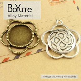 Wholesale Bronze Blanks - BoYuTe (30 Pieces Lot) 20MM Cabochon Base Zinc Alloy Materials Antique Bronze Silver Plated Blank Bezel Charms Pendants for Jewelry Making