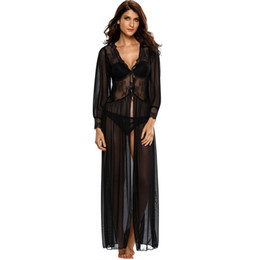 08de1b4d7b Chinese New 2018 maxi-dress Vintage Dresses Sexy Clubwear Sheer Long Sleeve Lace  Robe with