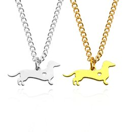 Wholesale Dog Chokers - Gold Silver Dachshund Necklace Sausage Dog Puppy Doggy Hollow Heart Charm Pendant Metal Animal Choker Necklaces For Dogs Owner Jewelry