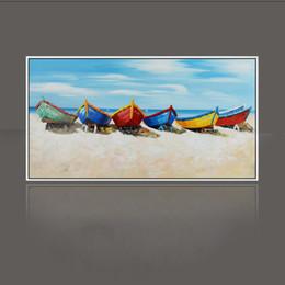 case del mediterraneo dipinti ad olio Sconti Pittura a olio della pittura della lama la spiaggia e la barca Decorazione domestica su tela pittura astratta pitture di arte SS-003